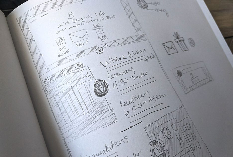 Sketch of a wedding website