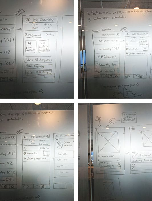 Examples of sketches on the whiteboard